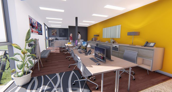 Computer generated image of a small open plan office